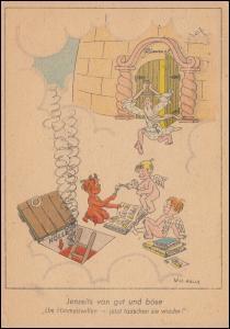 Humor-AK Philatelie: Jenseits von gut und böse, 164 EF Postkarte BERLIN 31.1.58