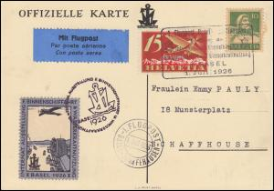 Erstflug Basel-Schaffhausen Offizielle Parte SSt Ausstellung BASEL 1.7.1926