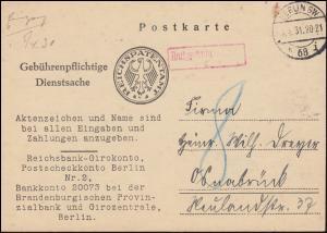 Gebührenpflichtige Dienstsache Reichspatentamt BERLIN 4.4.1931 nach Osnabrück