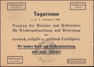 SSt Für die Opfer des Faschismus Tegernsee Dez.1946 auf Blanko-Postkarte P 954