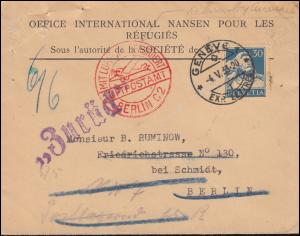 Mit Luftpost befördert Luftpostamt Berlin C 2 Schweiz-Brief GENF 4.5.1933 EF 169
