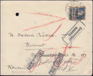 Völkerbund (SDN) 19x Tell mit Armbrust EF Brief GENF 19.2.30 nach Bukarest 22.2.
