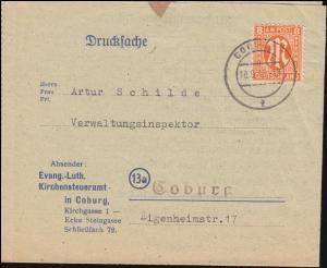 5 AM-Post 8 Pf. auf Drucksache im Ortsverkehr Kirchensteueramt COBURG 18.9.1945