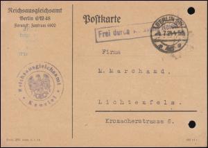 Frei durch Ablösung Reichsausgleichsamt Kanzlei auf Postkarte BERLIN 4.7.1924