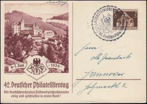 42. Deutscher Philatelistentag 1936 Schmuckdrucksache SSt LAUENSTEIN 7.6.1936