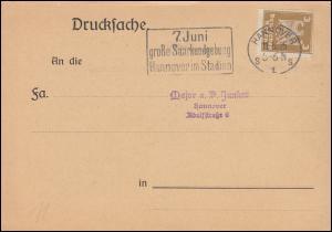 355 Adler EF auf Drucksache HANNOVER 7. Juli Große Saarkundgebung 11.5.1925