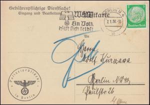 Gebührenpflichtige Dienstsache Polizeipräsident BERLIN 7.1.38 Wehrpass-Abholung