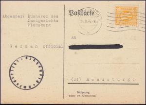 4 AM-Post 6 Pf. EF Postkarte Amtsgericht Bücherei FLENSBURG 24.9.45 n. Rendsburg