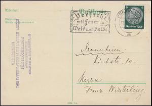 Internationales Nansen-Amt für Flüchtlinge Postkarte 6 Pf. EF BERLIN 13.9.1935
