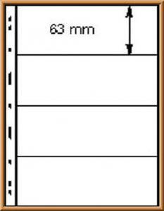 Lindner UNIPLATE 094, glasklar mit 4 Streifen (Höhe je 63 mm), 5 Blätter