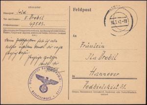 Feldpost 47583 auf Postkarte stummer Stempel 30.3.1942 Ostergrüße nach Hannover