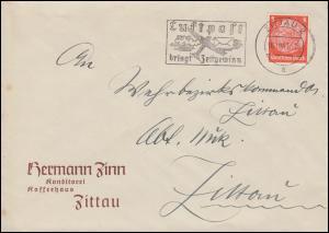 Hindenburg 8 Pf. als EF auf Orts-Brief ZITTAU 16.10.41 mit Luftpost-Werbung
