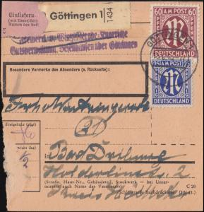 8+9+33 AM-Post 15+25+60 Pf. auf Paketkarte GÖTTINGEN 15.6.1946 nach Bad Driburg