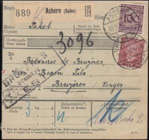 343 Korbdeckel + 362 Stephan auf Paketkarte ACHERN (BADEN) 14.8.26 nach Bruyeres
