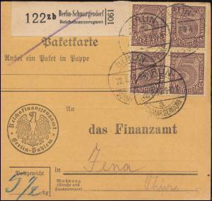 33 Dienstmarke MeF Paketkarte Reichsfinanzzeugamt BERLIN-SCHMARGENDORF 22.8.1922