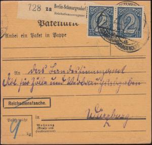 32 Dienstmarke MeF Paketkarte Reichsfinanzzeugamt BERLIN-SCHMARGENDORF 21.7.1922