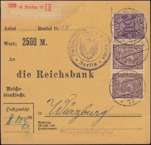 Reichsdienstsache 29+33 Dienstmarken Paketkarte Münzenmetalldepot Berlin 18.8.20