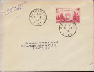 434 Waffenstillstandsabkommen auf Brief RETHONDES 11.11.1938 nach Paris 12.11.
