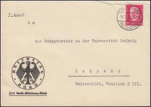 414 Hindenburg EF auf Brief BERLIN-REICHSTAG 10.7.30 nach Leipzig