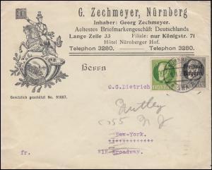 Bayern 112A+158A König Ludwig MiF auf Schmuck-Brief Zechmeyer NÜRNBERG 9.1.1920