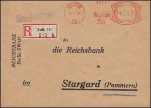 AFS Reichsbank BERLIN 13.5.1931 R-Brief an die Reichsbank in Stargard / Pommern