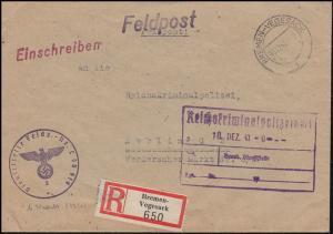 Feldpost L 50619 R-Bf. BREMEN-VEGESACK 15.12.43 an das RKPA in Berlin