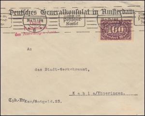 Generalkonsulat in Amsterdam Brief mit 219 Infla EF über BERLIN 28.4.1923