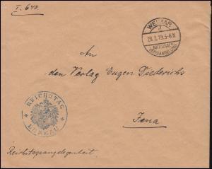 Reichstagsangelegenheit REICHSTAG BÜRO Brief WEIMAR NATIONAL-VERSAMMLUNG 28.2.19