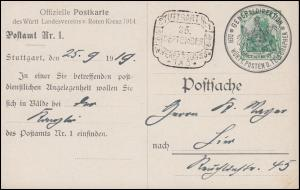 P 102 Rotes Kreuz-PK als Dienstformblatt Generaldirektion SSt STUTTGART 25.9.19