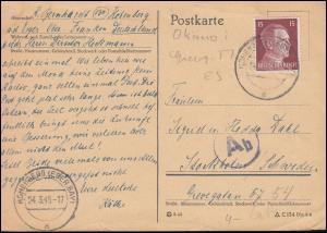 789 Hitler EF auf Auslands-Postkarte HOHENBERG / EGER 24.3.1945 nach Stockholm