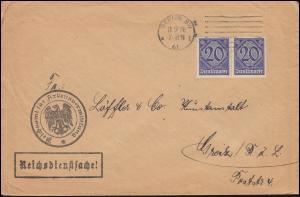 26 Dienstmarke Reichsdienstsache Reichsamt für Arbeitsvermittlung BERLIN 11.9.20