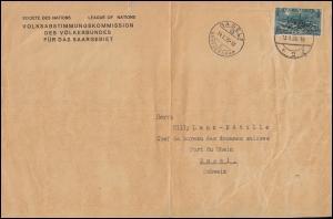 118 Burbacher Hütte Briefstück Volksabstimmungskommission SAARBRÜCKEN 13.1.35