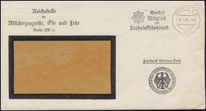 Frei durch Ablösung Reichsstelle Milcherzeugnisse Öle Fette Brief BERLIN 14.5.35