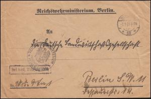 Frei durch Ablösung Reichswehrministerium Orts-Brief BERLIN W 10 - 7.9.1925