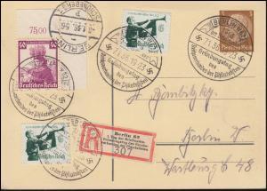PP 122 zum 1. Tag der Briefmarke und Philatelistentag S-R-Zettel BERLIN 7.1.1936