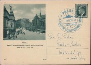 Bildpostkarte P 72/131 Ausstellung PRAG 1938 mit passendem SSt PRAHA 1.7.1938