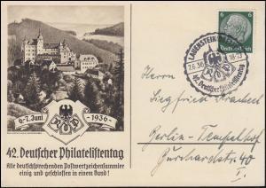 42. Deutscher Philatelistentag 1936 Schmuck-Postkarte SSt LAUENSTEIN 7.6.1936