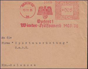 AFS 2959 Opfert! Winterhilfswerk 1935/36 BERLIN 13.11.35 auf Briefstück