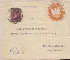 66 Dienstmarke Streifband-Drucksache Reichskanzlei BERLIN 4.8.1921 nach Freiburg