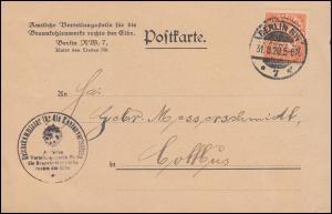 20 Dienstmarke EF auf Postkarte Verteilungsstelle Braunkohlewerke BERLIN 31.8.20