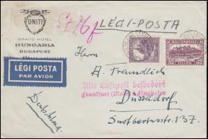 Mit Luftpost befördert Frankfurt (Main) 2 Flughafen Ungarn-Bf. BUDAPEST 25.10.30