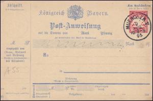Bayern Postanweisung A55 Wappen 10 Pf. Gefälligkeitsstempel MÜNCHEN 9.8.1895