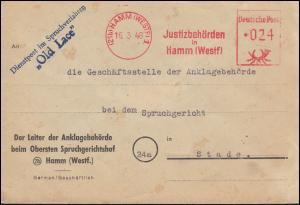 AFS Justizbehörden Spruchverfahren Old Lace vom Ankläger Brief HAMM 16.3.1948