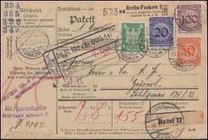 341+343+343+356 Korbdeckel/Adler-Frankatur auf Paketkarte BERLIN-PANKOW 26.9.24