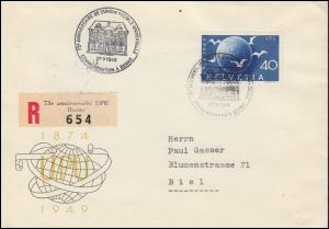 Schweiz 524 Weltpostverein EF auf Schmuck-R-Brief SSt BERN 75 Jahre UPU 27.5.49