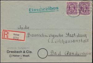 15 AM-Post 12 Pf Paar auf R-Brief HALVER 20.9.1945 nach BAD GANDERSHEIM 24.9.45