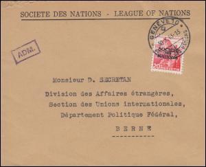 Völkerbund (SDN) 69 Landschaft als EF auf Brief GENF 30.10.1943 nach Bern, ADM-O