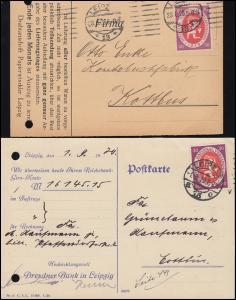 110a + b Nationalversammlung je EF auf Postkarte LEIPZIG, beide BPP-geprüft