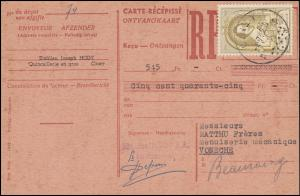 Belgien Zahlkarte CINEY 4.7.1952 mit 933 Weltpostkongress