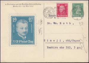 Privatpostkarte PP 103 Philatelistentag Porträt Kosack Werbe-O BERLIN 15.11.1928